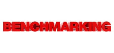 BENCHMARKING red word on white background illustration 3D rendering Фото со стока