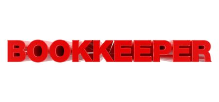 BOOKKEEPER red word on white background illustration 3D rendering