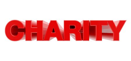 CHARITY red word on white background illustration 3D rendering 版權商用圖片