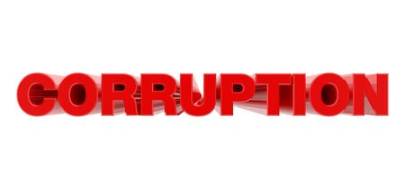 CORRUPTION red word on white background illustration 3D rendering