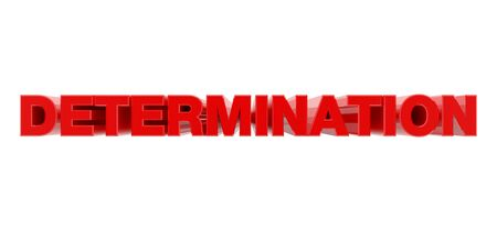 DETERMINATION red word on white background illustration 3D rendering