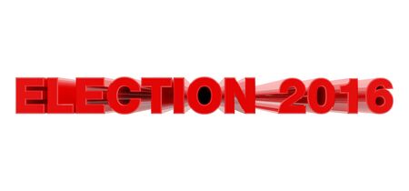 ELECTION 2016 red word on white background illustration 3D rendering