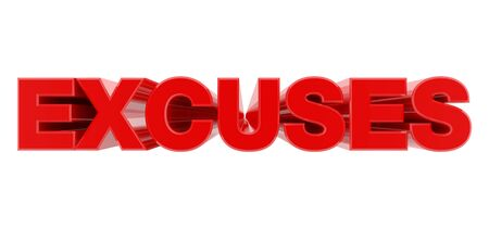 EXCUSES red word on white background illustration 3D rendering Banco de Imagens