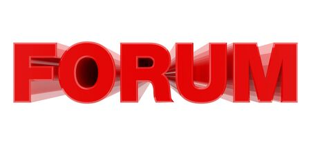 FORUM red word on white background illustration 3D rendering