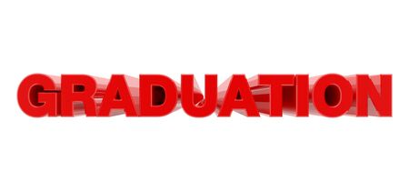 GRADUATION red word on white background illustration 3D rendering Фото со стока