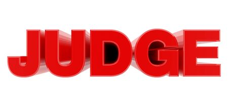 JUDGE red word on white background illustration 3D rendering Фото со стока