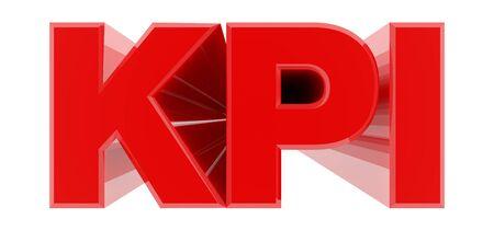 KPI red word on white background illustration 3D rendering