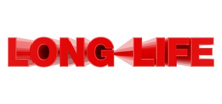 LONG LIFE red word on white background illustration 3D rendering Banque d'images - 130781163