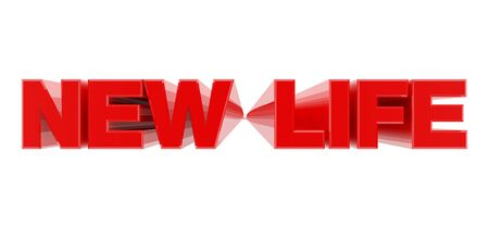 NEW LIFE red word on white background illustration 3D rendering Фото со стока