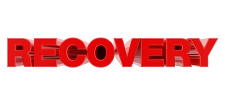 RECOVERY red word on white background illustration 3D rendering 스톡 콘텐츠