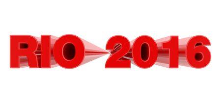 RIO 2016 red word on white background illustration 3D rendering Reklamní fotografie