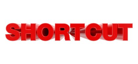 SHORTCUT red word on white background illustration 3D rendering
