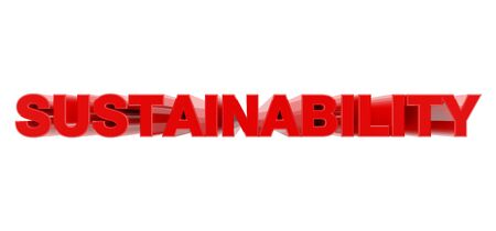 SUSTAINABILITY red word on white background illustration 3D rendering