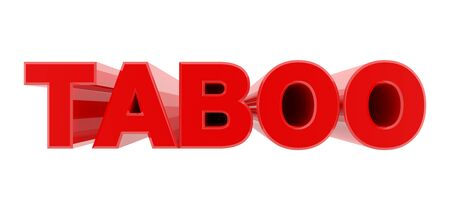 TABOO red word on white background illustration 3D rendering Reklamní fotografie
