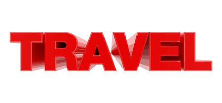 TRAVEL red word on white background illustration 3D rendering