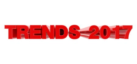 TRENDS 2017 red word on white background illustration 3D rendering