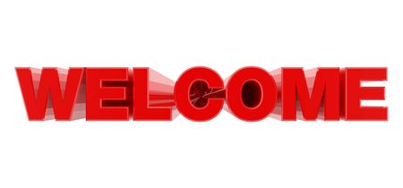WELCOME red word on white background illustration 3D rendering