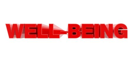 WELL-BEING red word on white background illustration 3D rendering