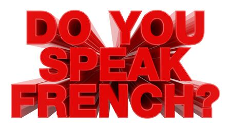 DO YOU SPEAK FRENCH ? red word on white background illustration 3D rendering