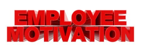 EMPLOYEE MOTIVATION red word on white background illustration 3D rendering Stock Photo