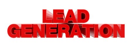 LEAD GENERATION red word on white background illustration 3D rendering