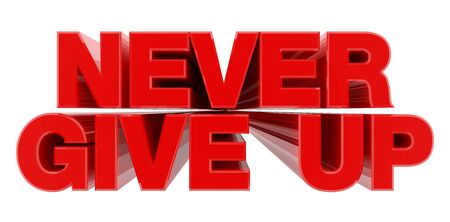 NEVER GIVE UP red word on white background illustration 3D rendering