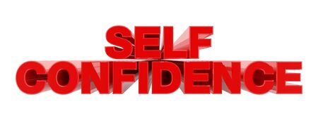 SELF CONFIDENCE red word on white background illustration 3D rendering