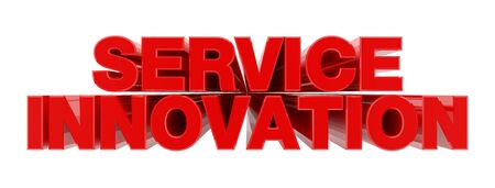 SERVICE INNOVATION red word on white background illustration 3D rendering