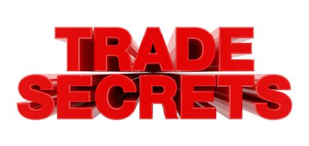 TRADE SECRETS red word on white background illustration 3D rendering