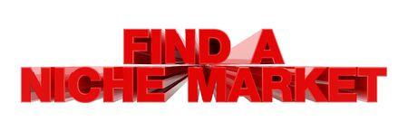 FIND A NICHE MARKET red word on white background illustration 3D rendering