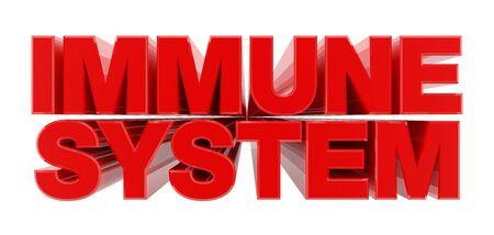 IMMUNE SYSTEM red word on white background illustration 3D rendering