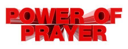 Puissance de la prière mot rouge sur fond blanc illustration rendu 3D Banque d'images