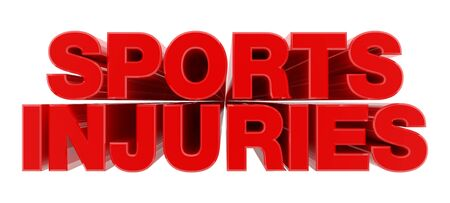 SPORTS INJURIES red word on white background illustration 3D rendering Stock Photo