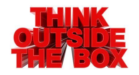 THINK OUTSIDE THE BOX red word on white background illustration 3D rendering Banco de Imagens