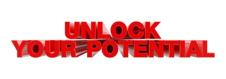 UNLOCK YOUR POTENTIAL red word on white background illustration 3D rendering Zdjęcie Seryjne