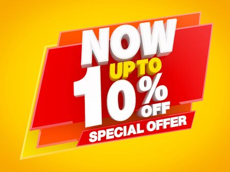 NOW UP TO 10 % OFF SPECIAL OFFER, Sale background 3d rendering Reklamní fotografie