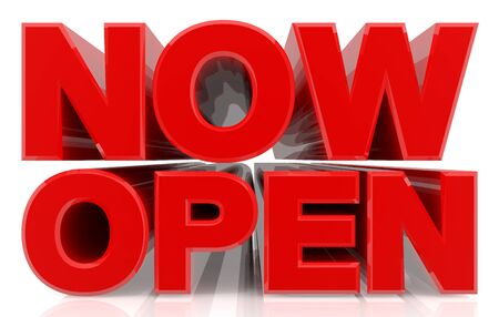 3D NOW OPEN word on white background 3d rendering Stock fotó
