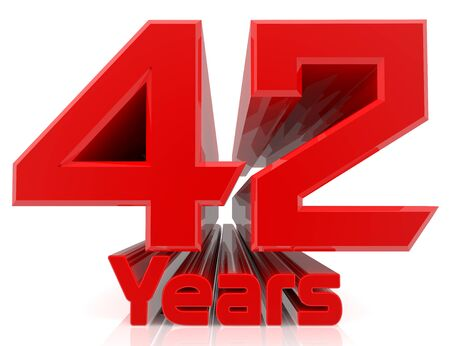 3D 42 years word on white background 3d rendering