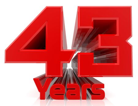 3D 43 years word on white background 3d rendering