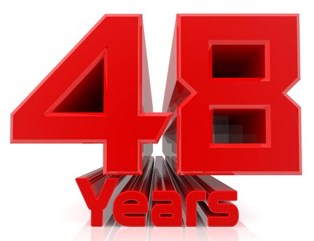 3D 48 years word on white background 3d rendering Stok Fotoğraf