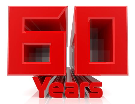 3D 60 years word on white background 3d rendering