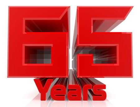 3D 65 years word on white background 3d rendering