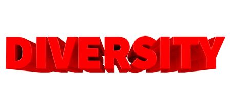 3D DIVERSITY word on white background 3d rendering