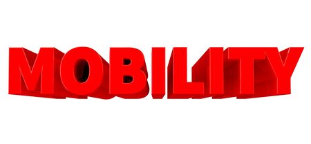 3D MOBILITY word on white background 3d rendering Stok Fotoğraf