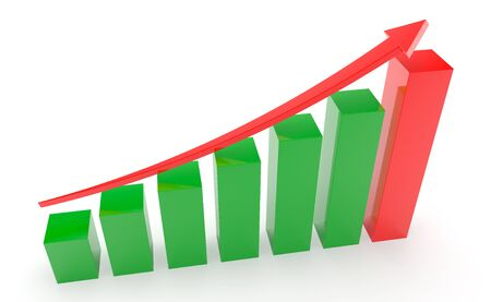 Business graph and chart 3d rendering