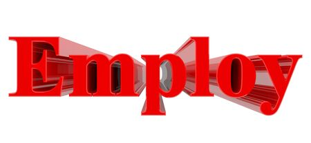 3D Employ word on white background 3d rendering