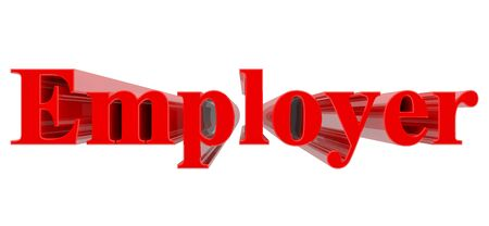 3D Employer word on white background 3d rendering