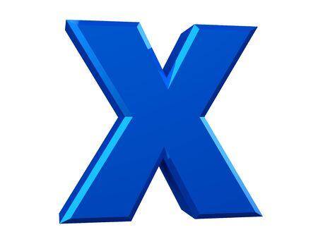 la lettre bleue X sur fond blanc rendu 3d