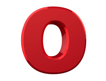 the red letter O on white background 3d rendering