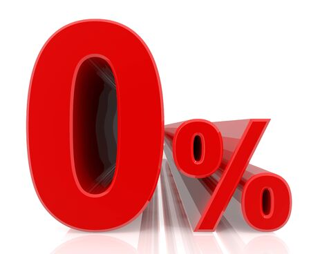 percent red 3d rendering Stock Photo
